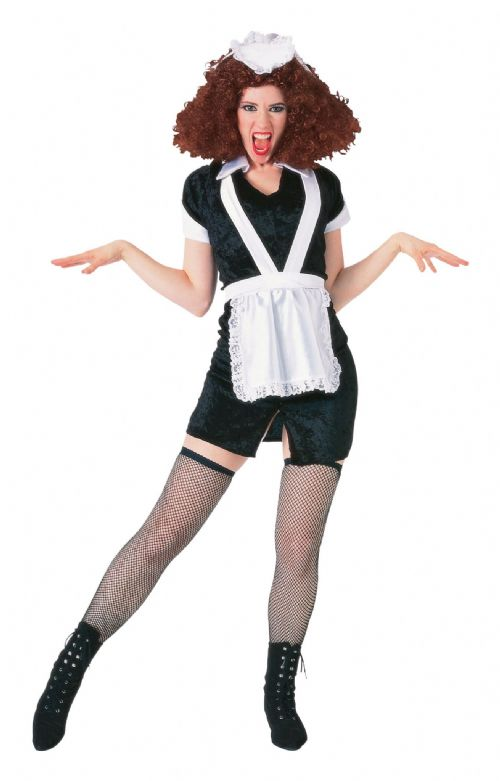 Adults Maid Magenta Costume House Cleaner French Vicar & Tarts Fancy Dress